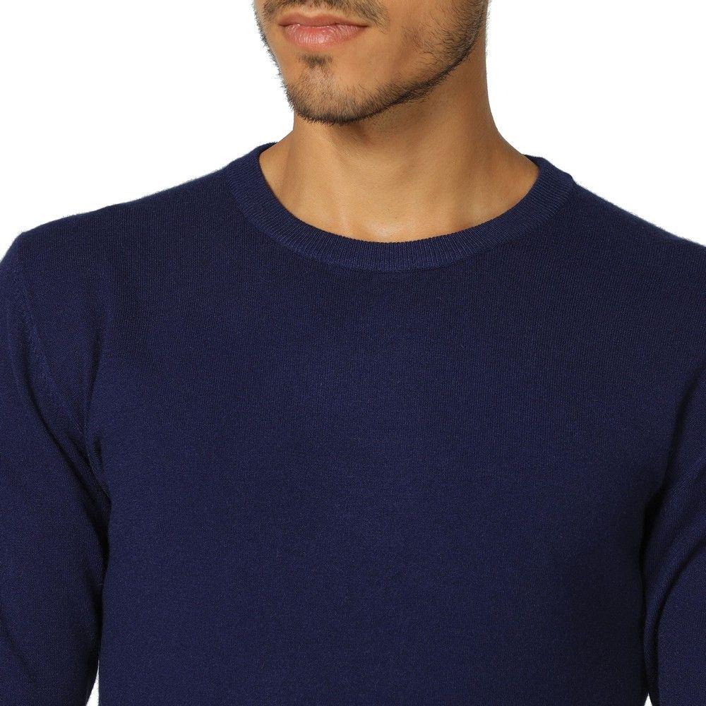 William De Faye Round Neck Long Sleeve Sweater in Navy
