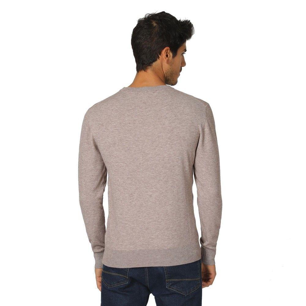 William De Faye Round Neck Long Sleeve Sweater in Beige