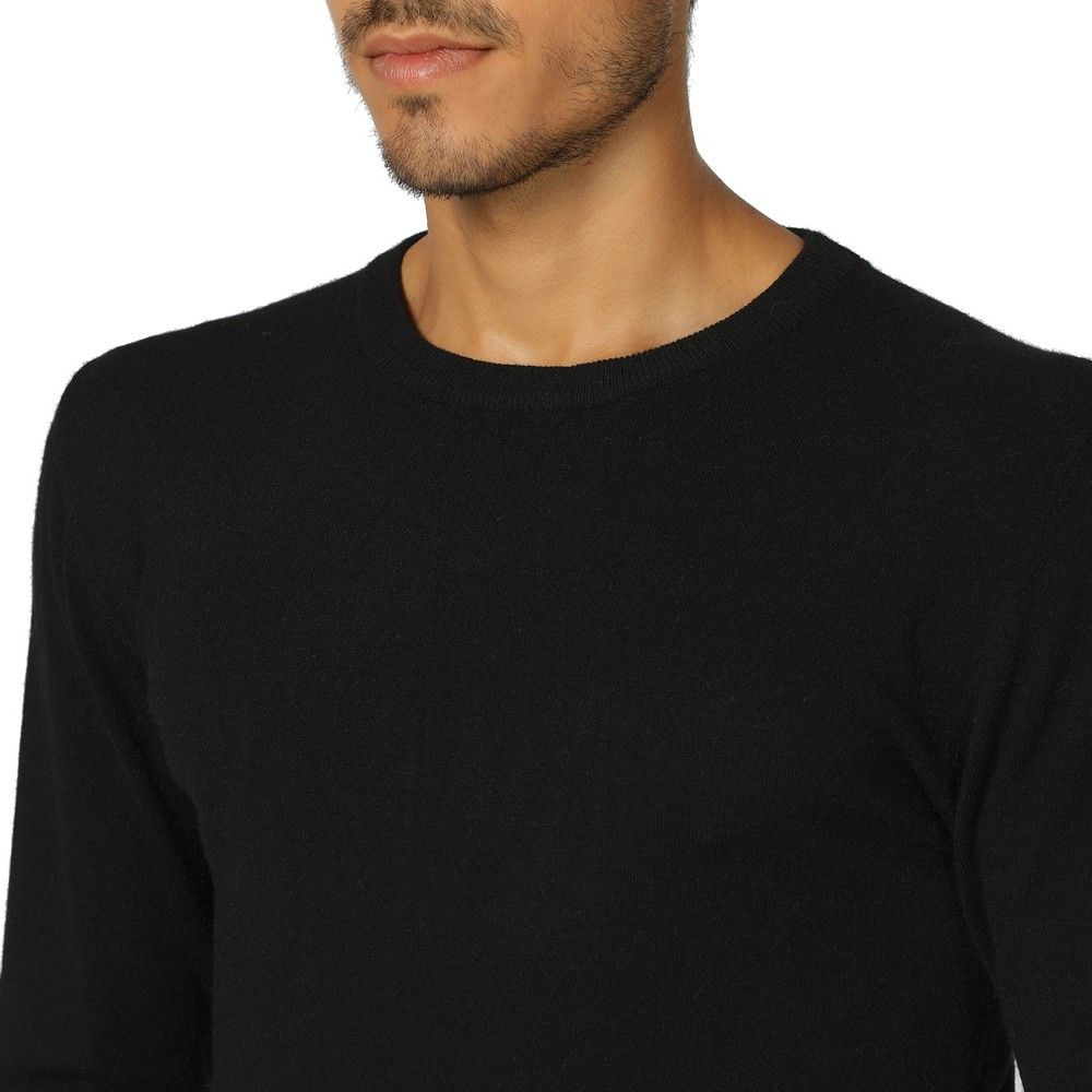 William De Faye Round Neck Long Sleeve Sweater in Black
