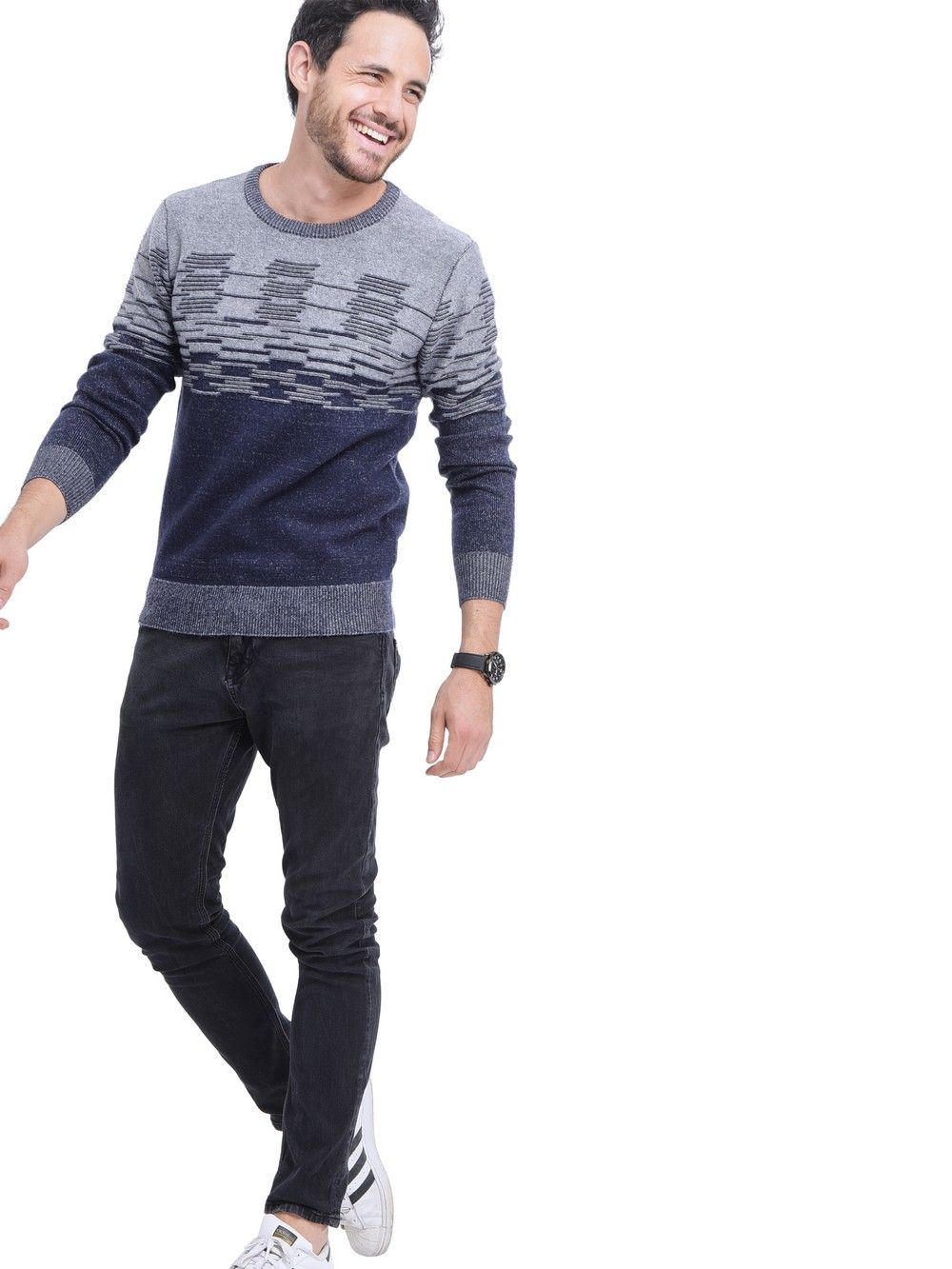 William De Faye Round Neck 3-ply Jacquard Sweater in Navy