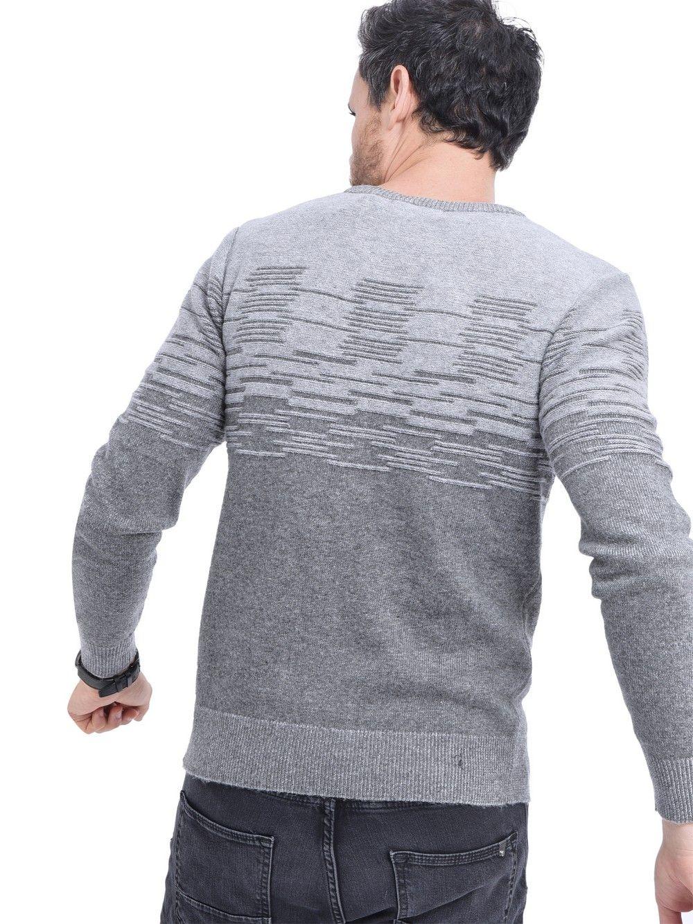 William De Faye Round Neck 3-ply Jacquard Sweater in Grey