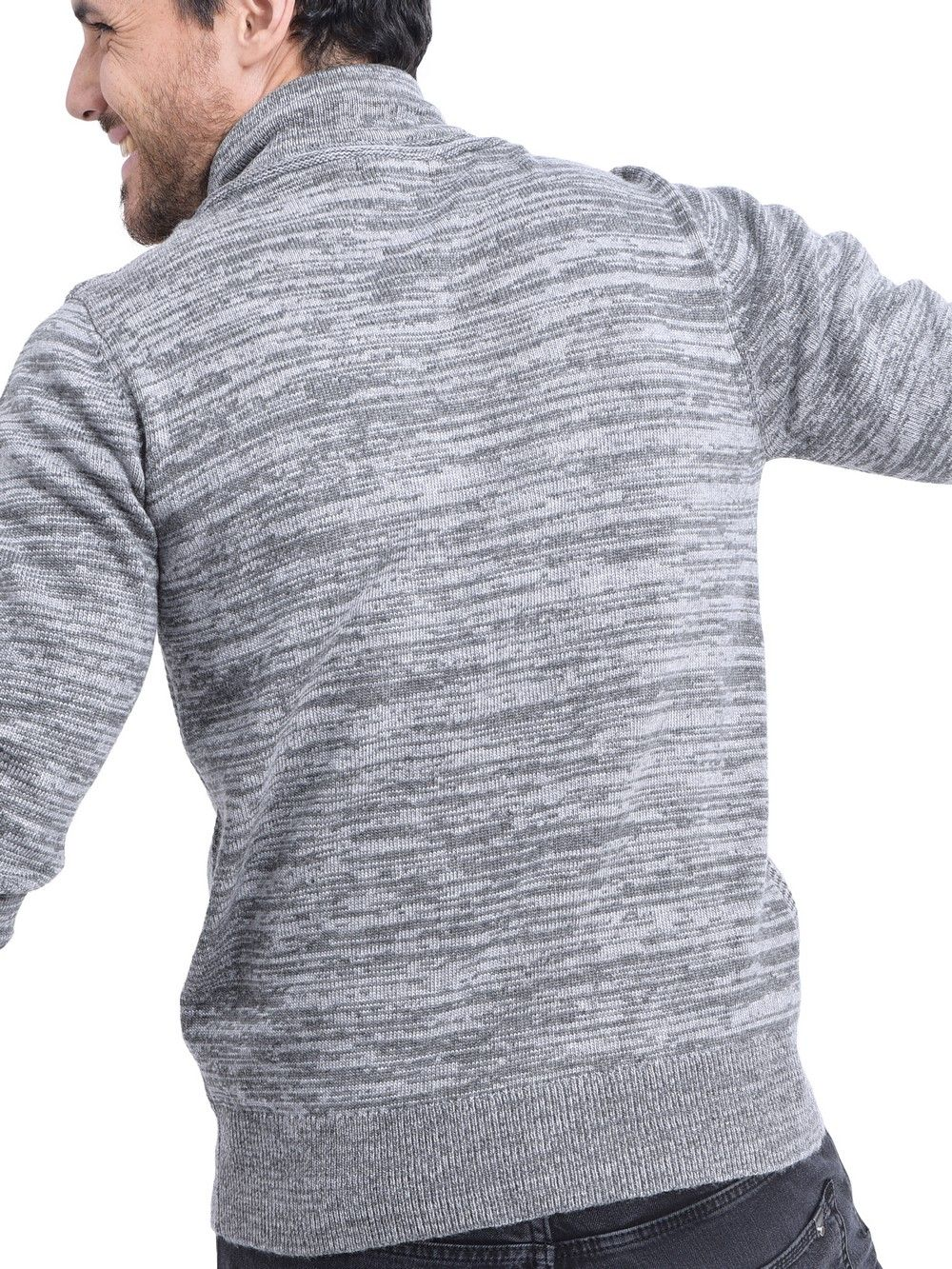William De Faye Shawl Collar Jacquard Sweater with Cords in Grey