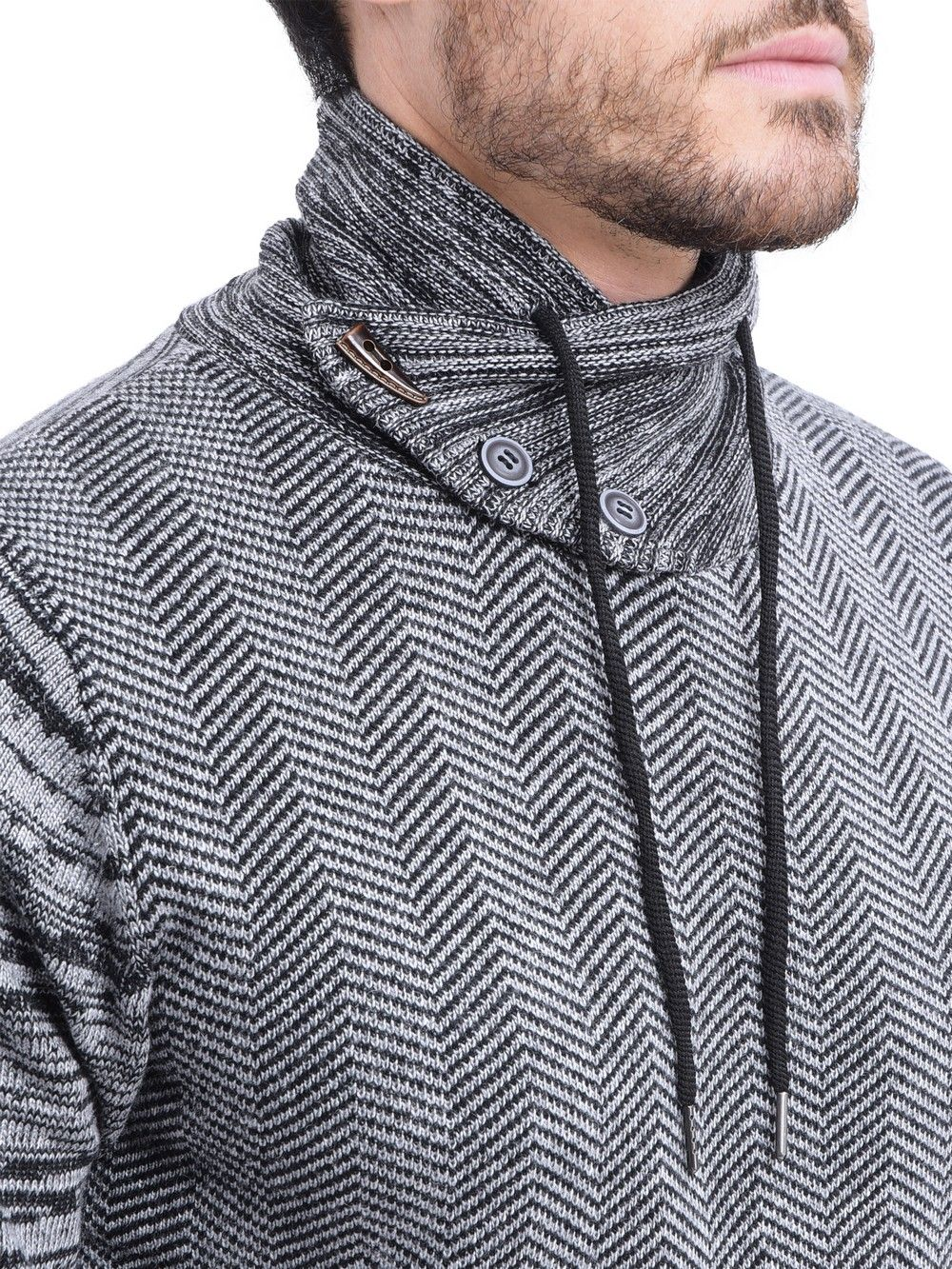 William De Faye Shawl Collar Jacquard Sweater with Cords in Black