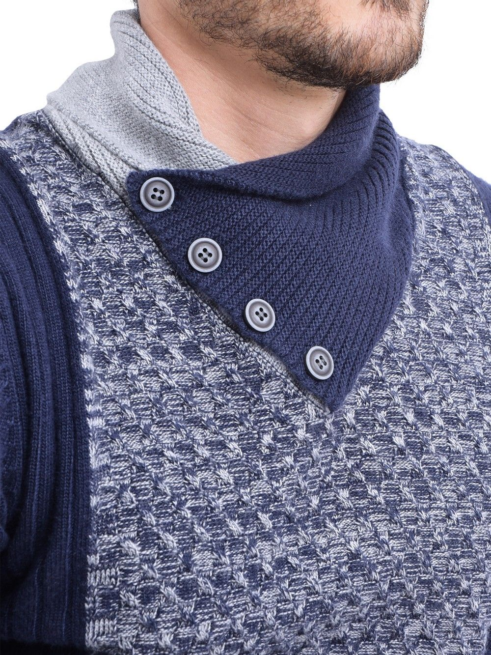 William De Faye Shawl Collar Jacquard Sweater with Butons in Navy