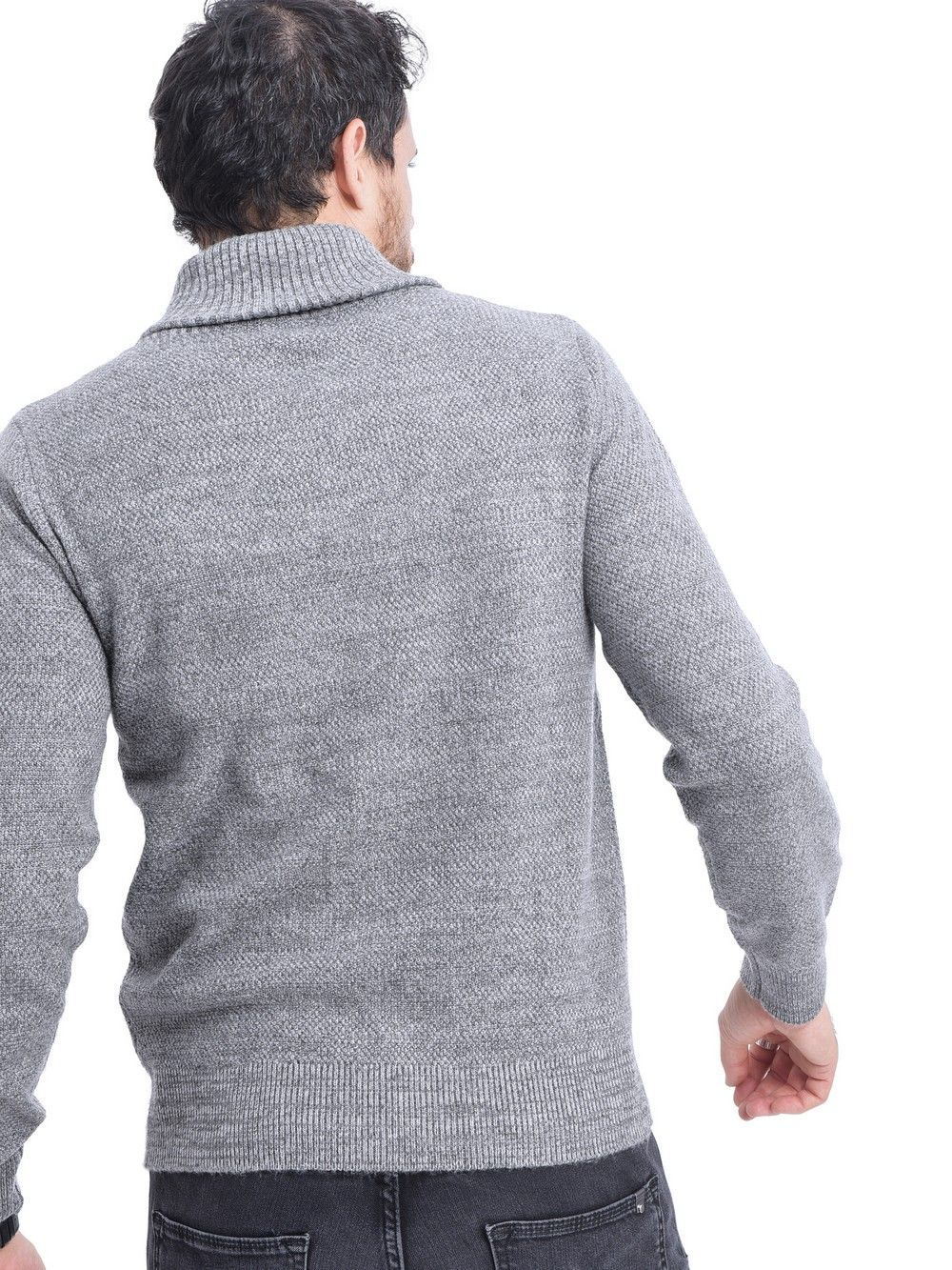 William De Faye Shawl Collar Jacquard Sweater with Butons in Grey
