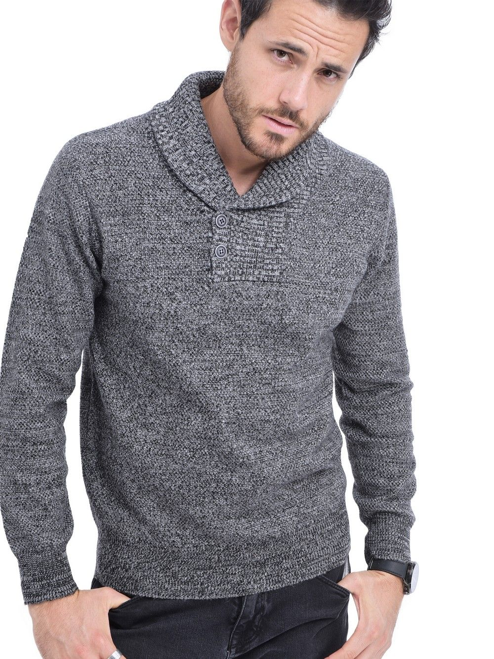 William De Faye Shawl Collar Jacquard Sweater with Butons in Black