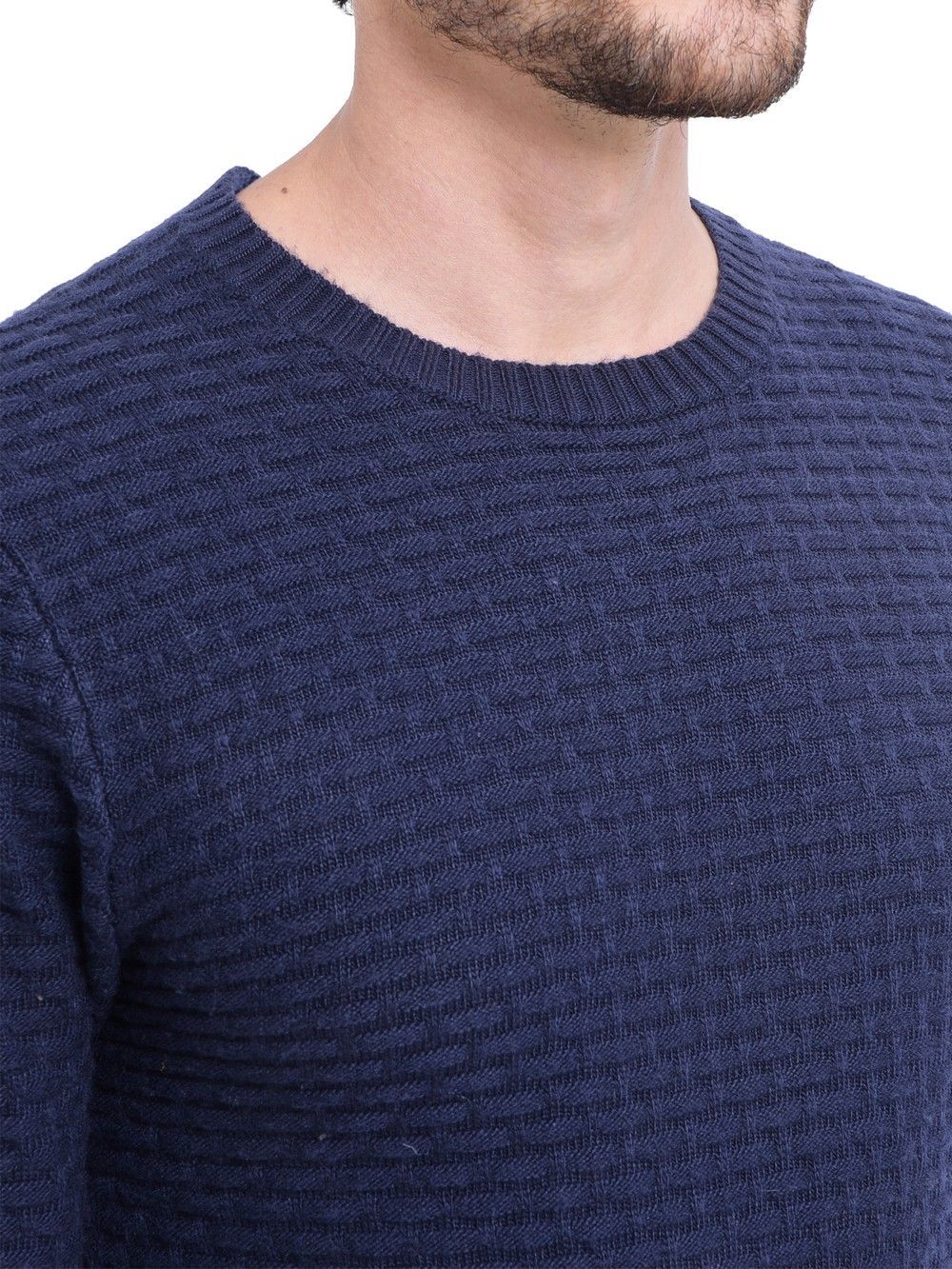 William De Faye Round Neck Jacquard Sweater in Navy