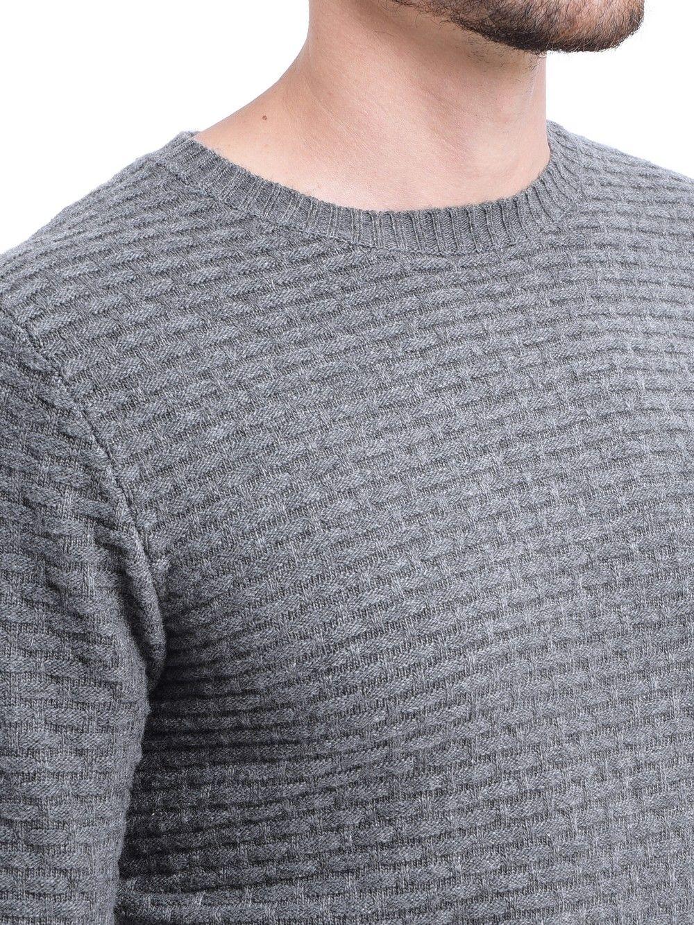 William De Faye Round Neck Jacquard Sweater in Grey