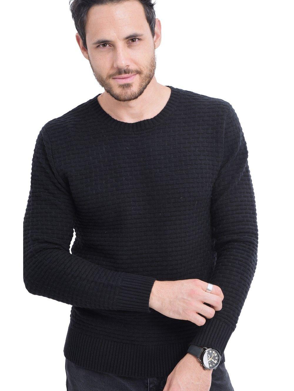 William De Faye Round Neck Jacquard Sweater in Black