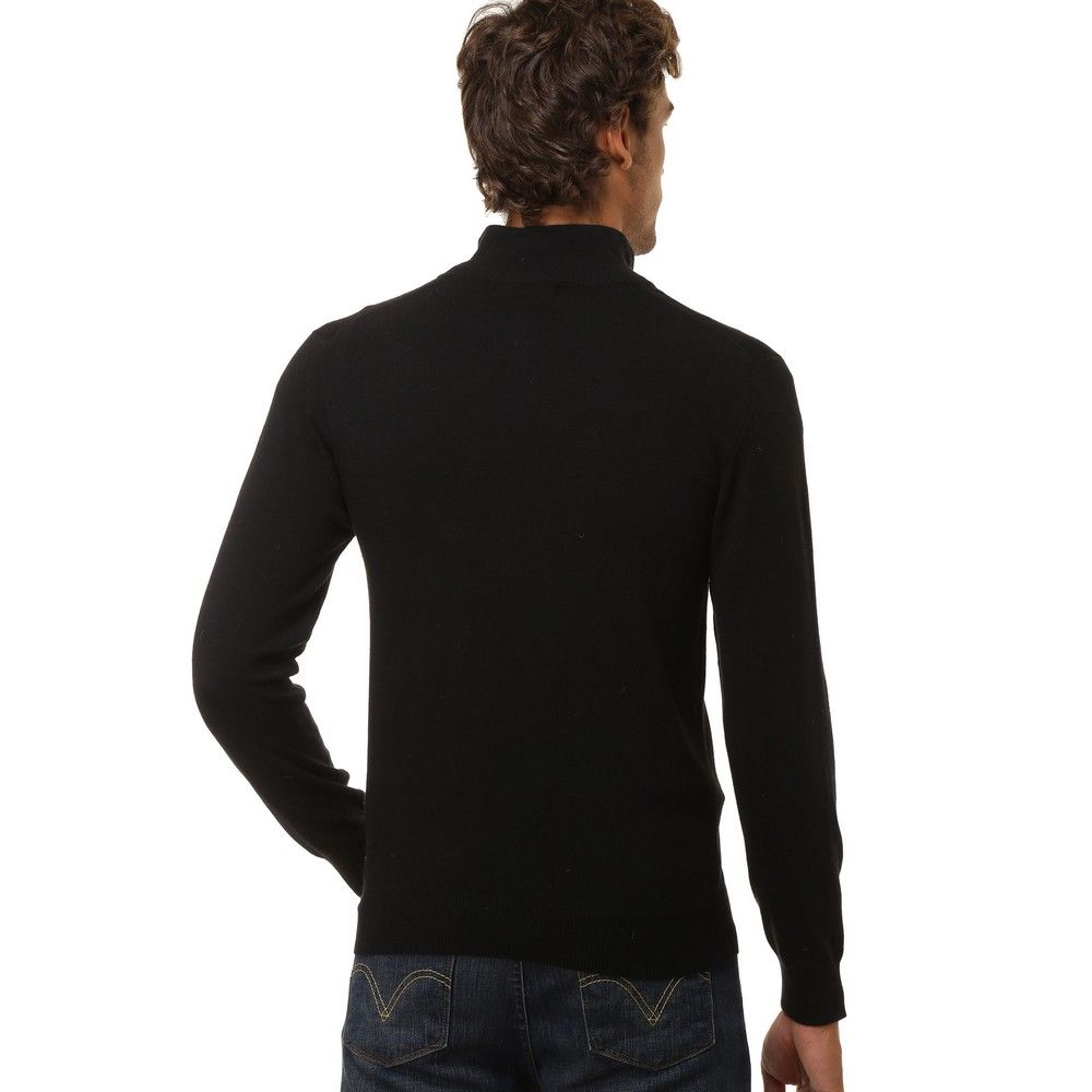 William De Faye Half Zip Sweater with Jacquard Detail in Black