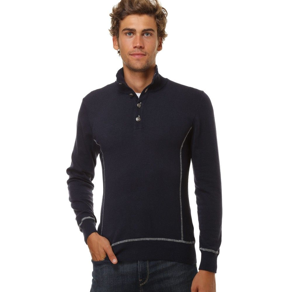 William De Faye High Neck Sweater with Buttons and Contrast Stitching in Navy