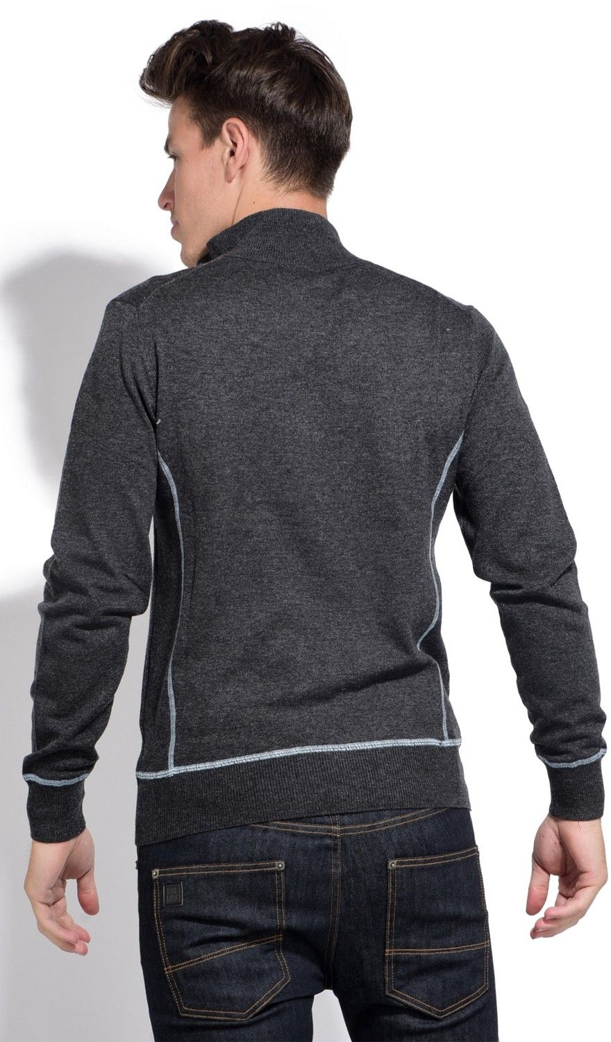William De Faye High Neck Sweater with Buttons and Contrast Stitching in Grey
