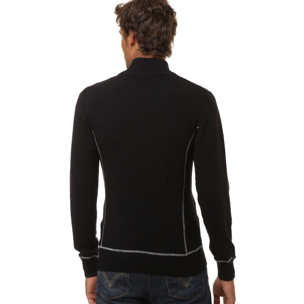 William De Faye High Neck Sweater with Buttons and Contrast Stitching in Black