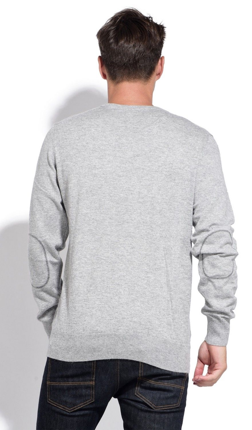 William De Faye V-neck Sweater with Elbow Patches in Grey