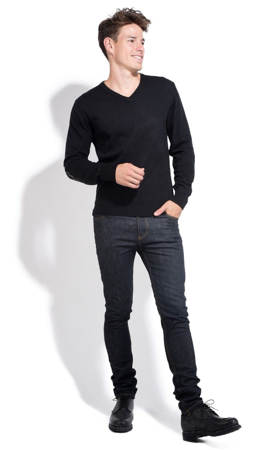 William De Faye V-neck Sweater with Elbow Patches in Black
