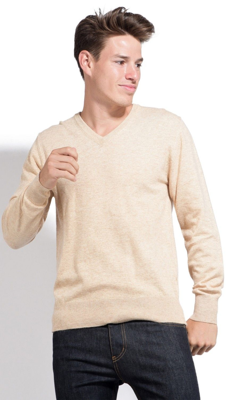 William De Faye V-neck Sweater with Contrasting Inner Collar in Beige