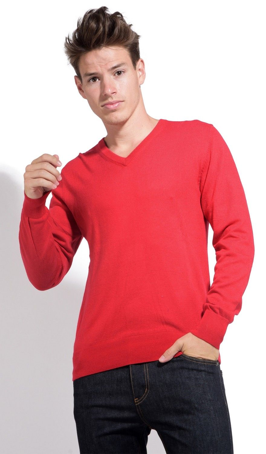 William De Faye V-neck Sweater with Contrasting Inner Collar in Red