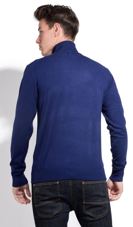 William De Faye Roll Neck Long Sleeve Sweater in Navy