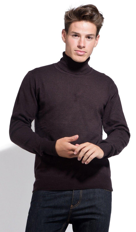 William De Faye Roll Neck Long Sleeve Sweater in Brown
