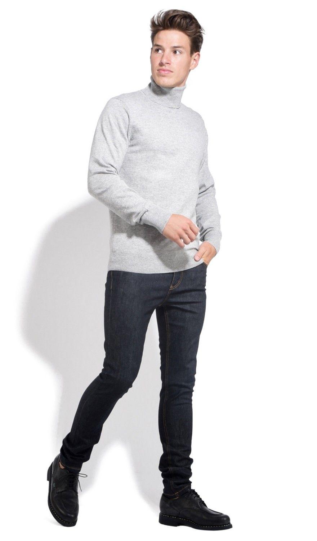 William De Faye Roll Neck Long Sleeve Sweater in Light Grey