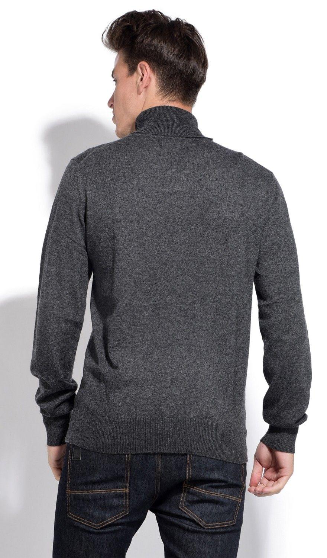 William De Faye Roll Neck Long Sleeve Sweater in Grey