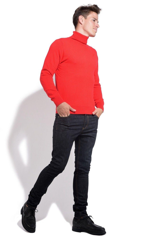 William De Faye Roll Neck Long Sleeve Sweater in Red