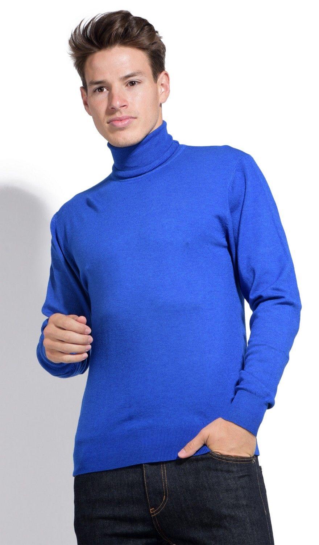 William De Faye Roll Neck Long Sleeve Sweater in Blue