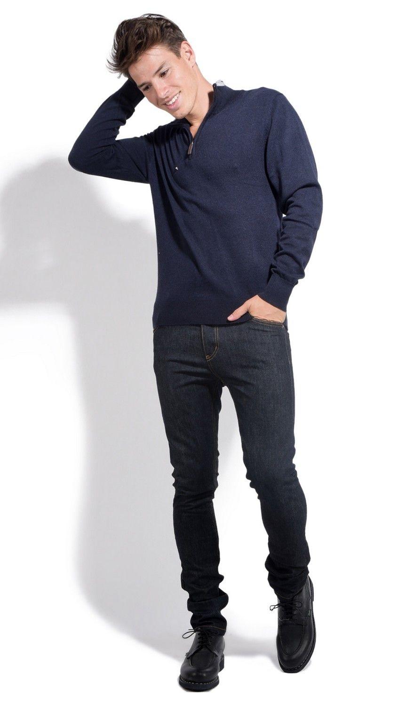 William De Faye Half Zip Sweater with Two-tone Collar in Navy
