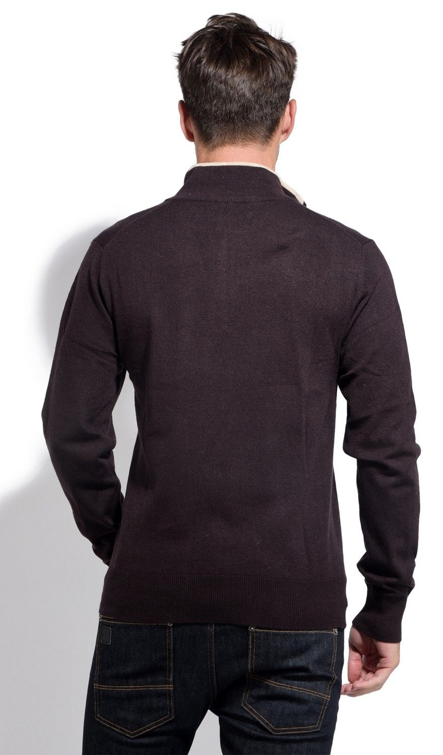 William De Faye Half Zip Sweater with Two-tone Collar in Brown