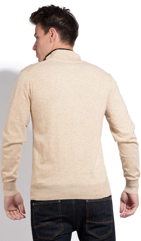 William De Faye Half Zip Sweater with Two-tone Collar in Beige
