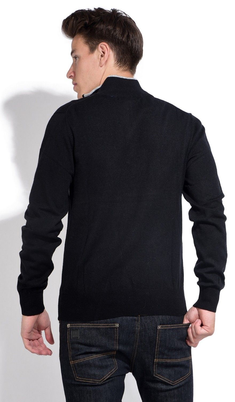 William De Faye Half Zip Sweater with Two-tone Collar in Black