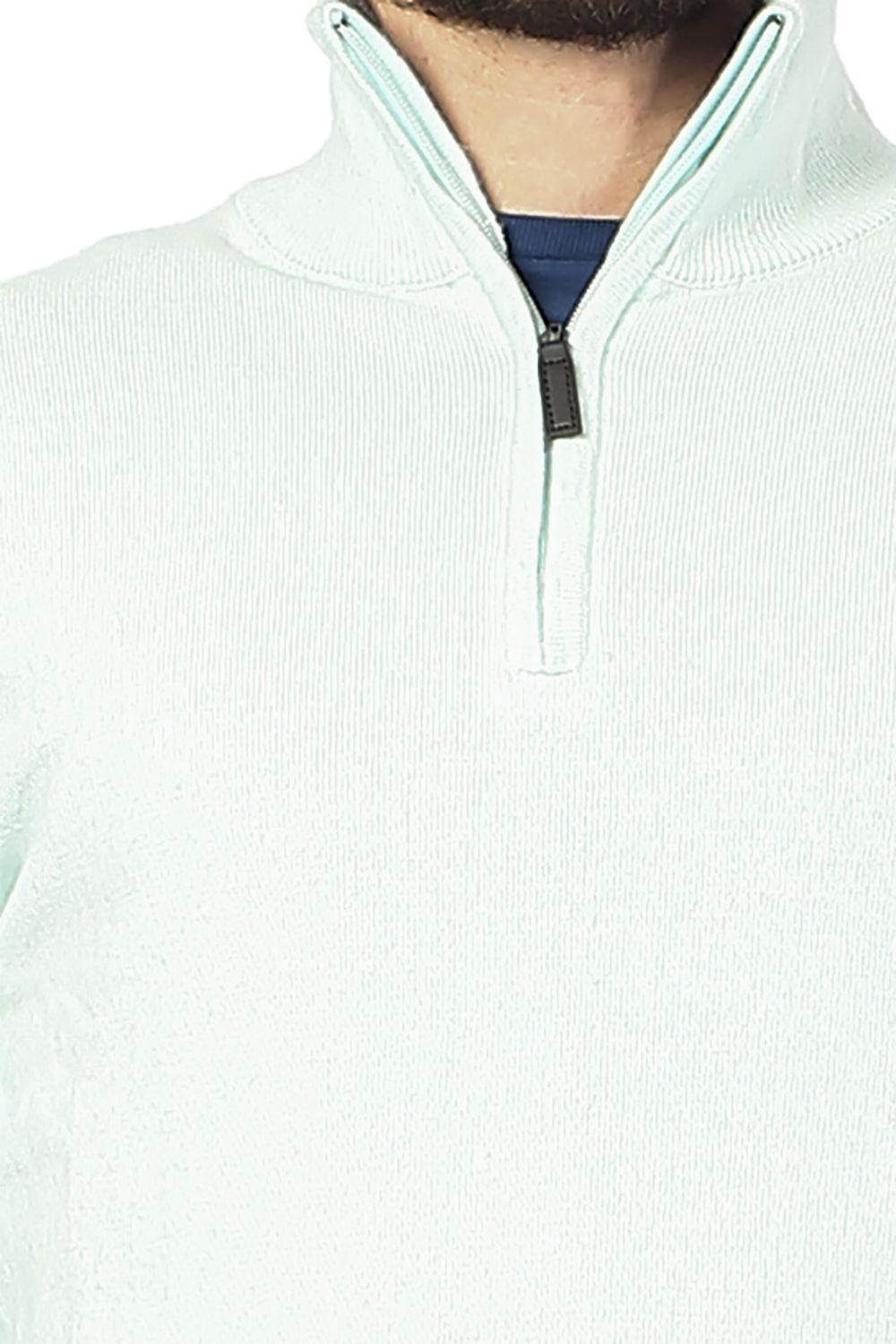 William De Faye Half Zip Sweater with Two-tone Collar in Grey