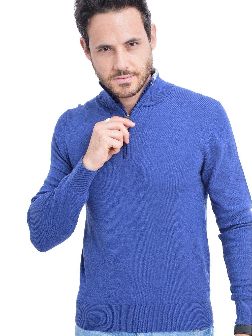William De Faye Half Zip Sweater with Two-tone Collar in Blue