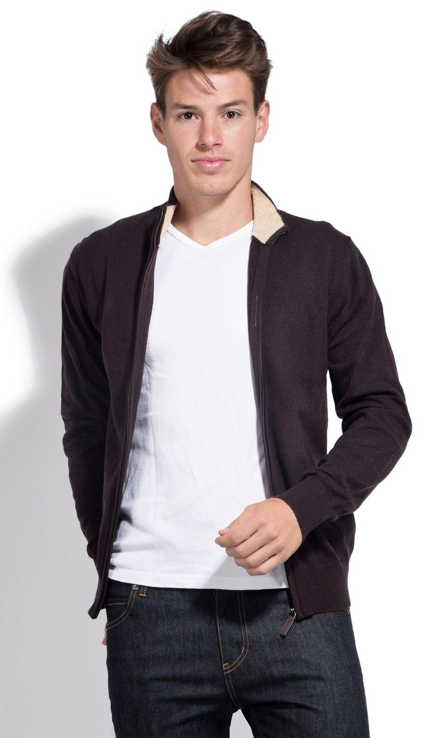 William De Faye Two-tone Collar Zip Cardigan in Brown