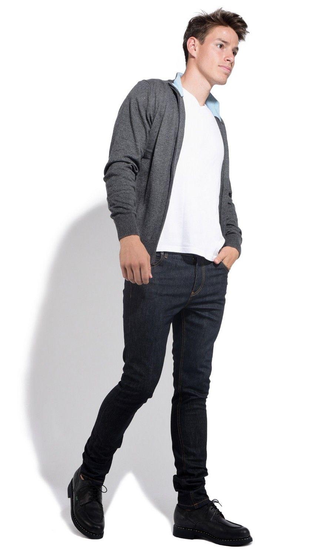 William De Faye Two-tone Collar Zip Cardigan in Grey