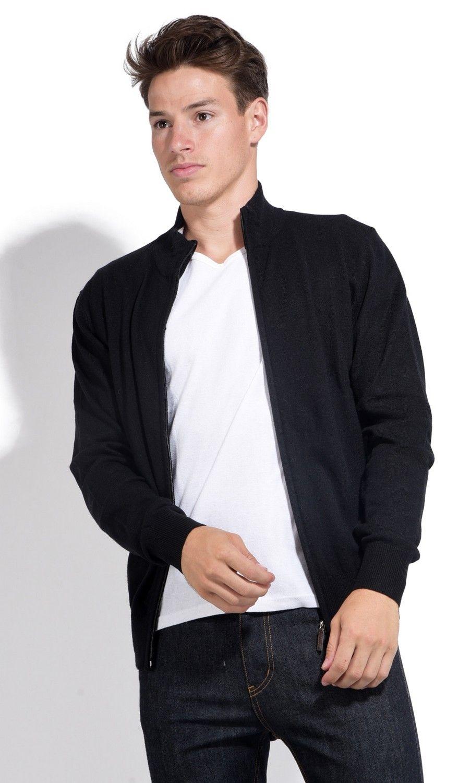 William De Faye Two-tone Collar Zip Cardigan in Black