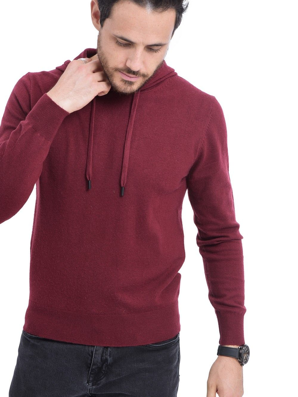 William De Faye Hooded Sweater with Cords in Maroon