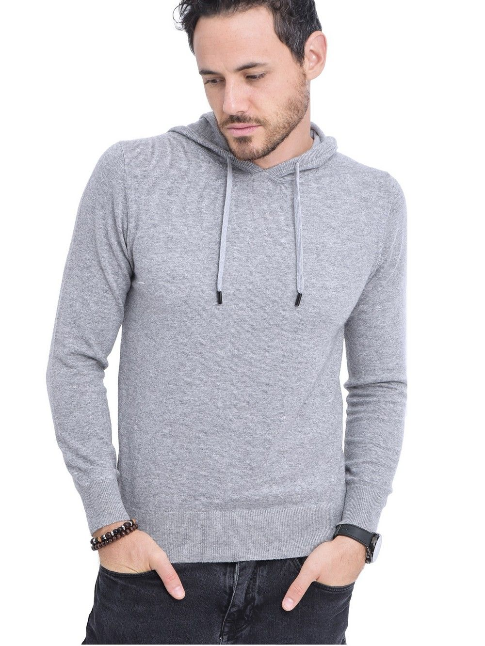 William De Faye Hooded Sweater with Cords in Light Grey