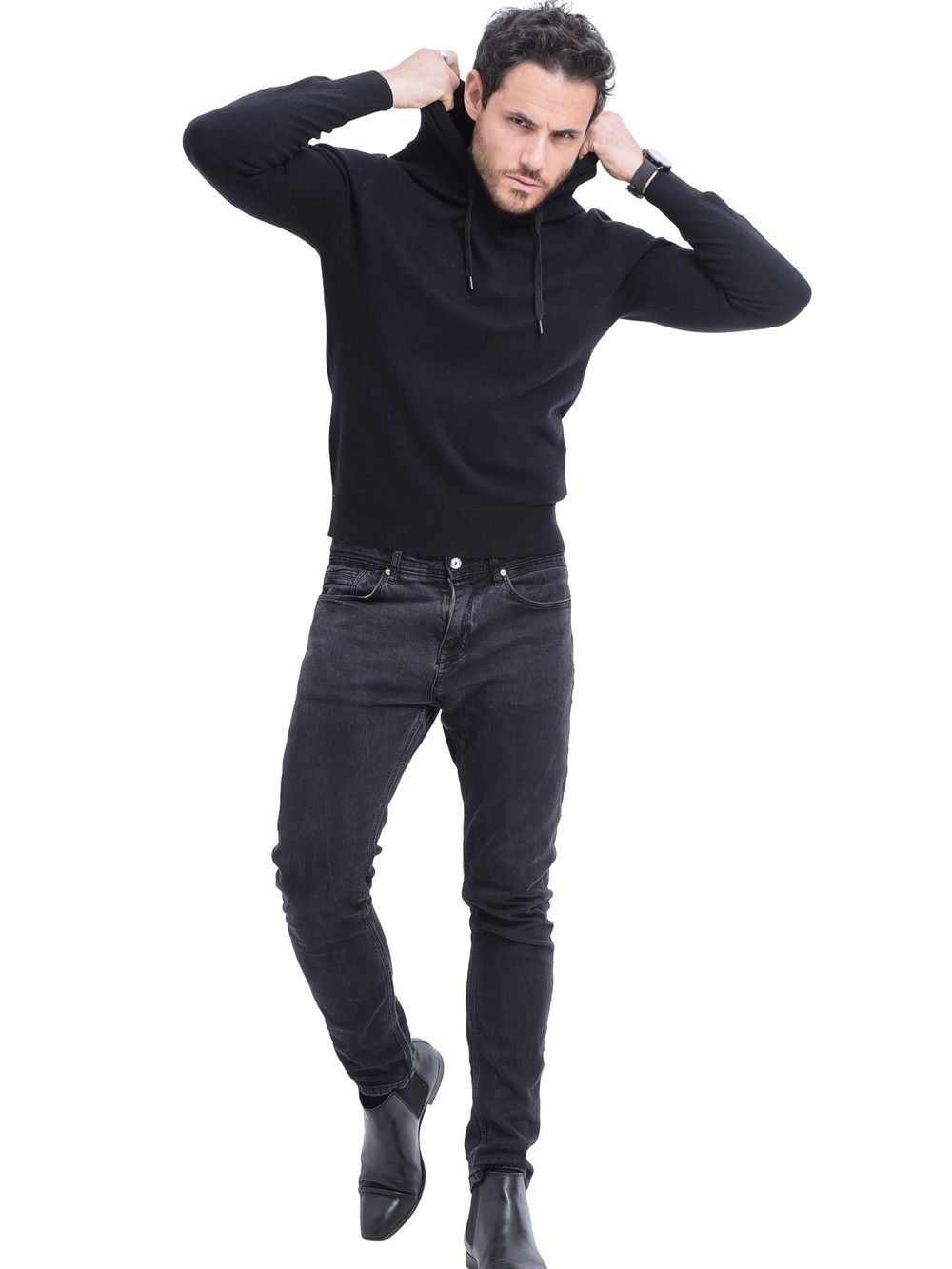 William De Faye Hooded Sweater with Cords in Black