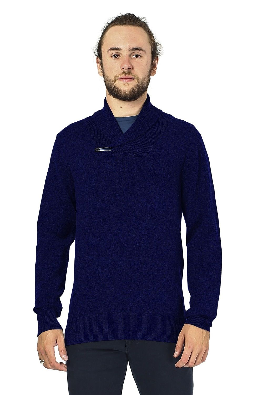 William De Faye Shawl Neck Sweater with Leather Buckle in Navy