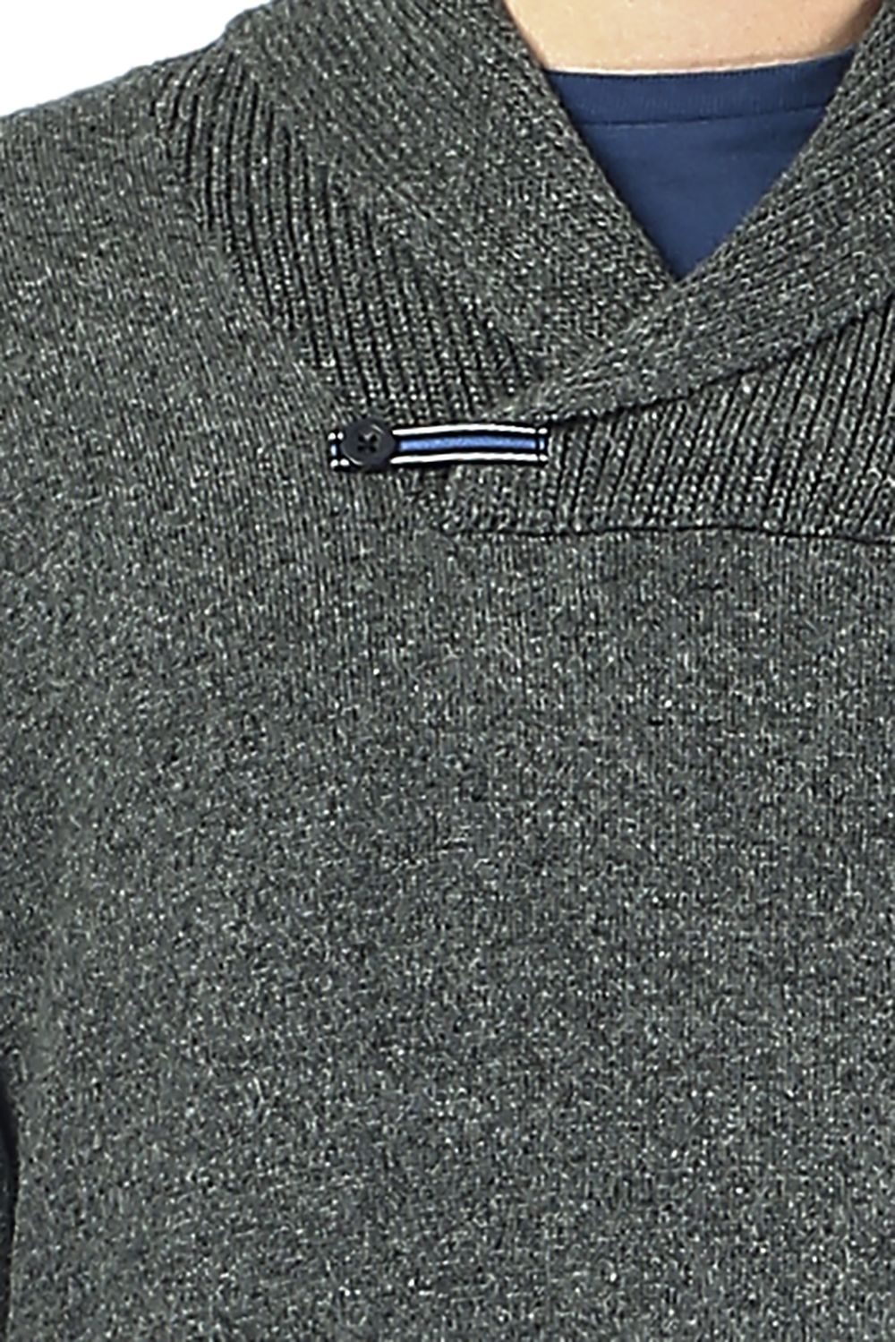 William De Faye Shawl Neck Sweater with Leather Buckle in Grey