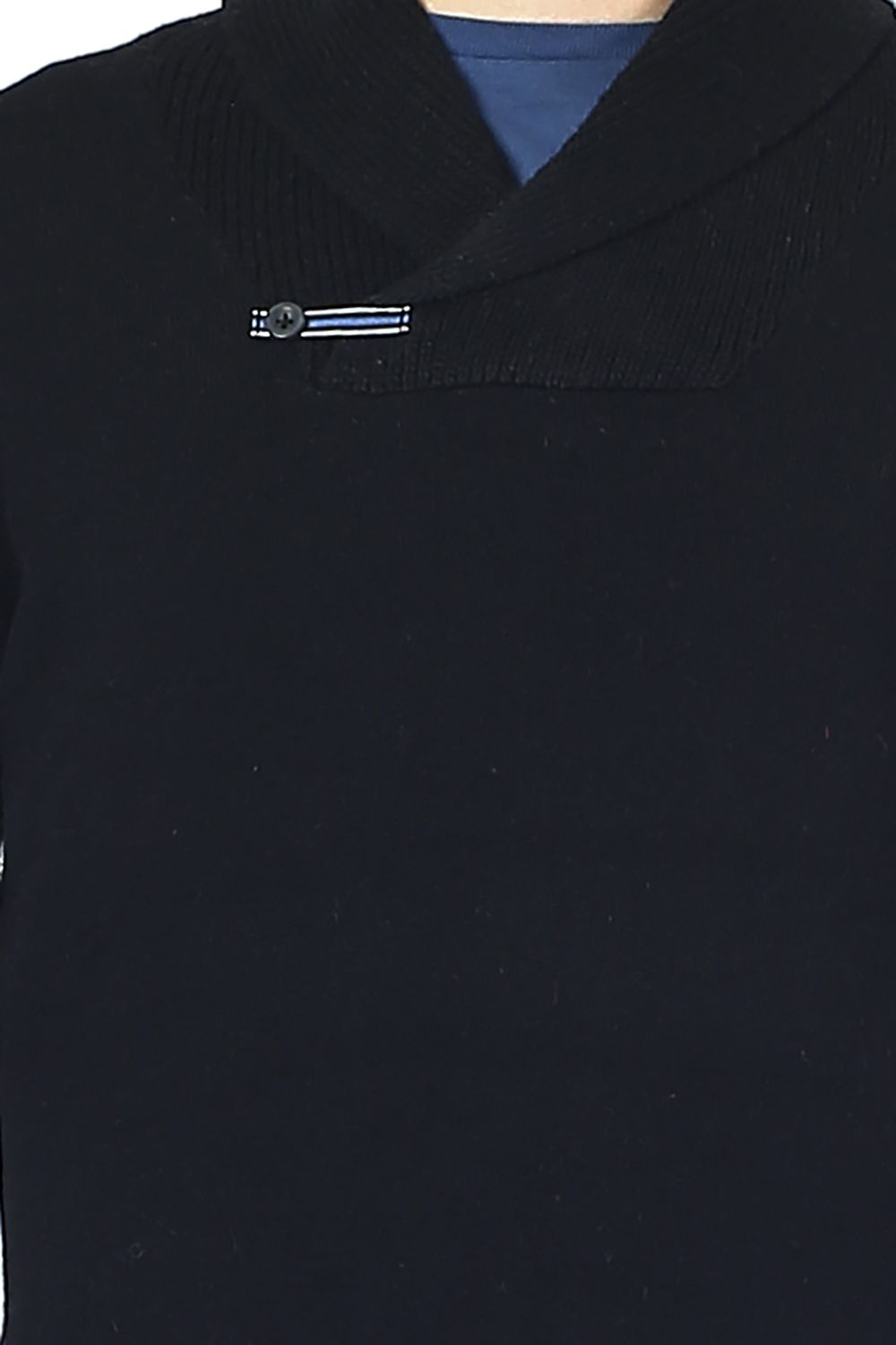 William De Faye Shawl Neck Sweater with Leather Buckle in Black