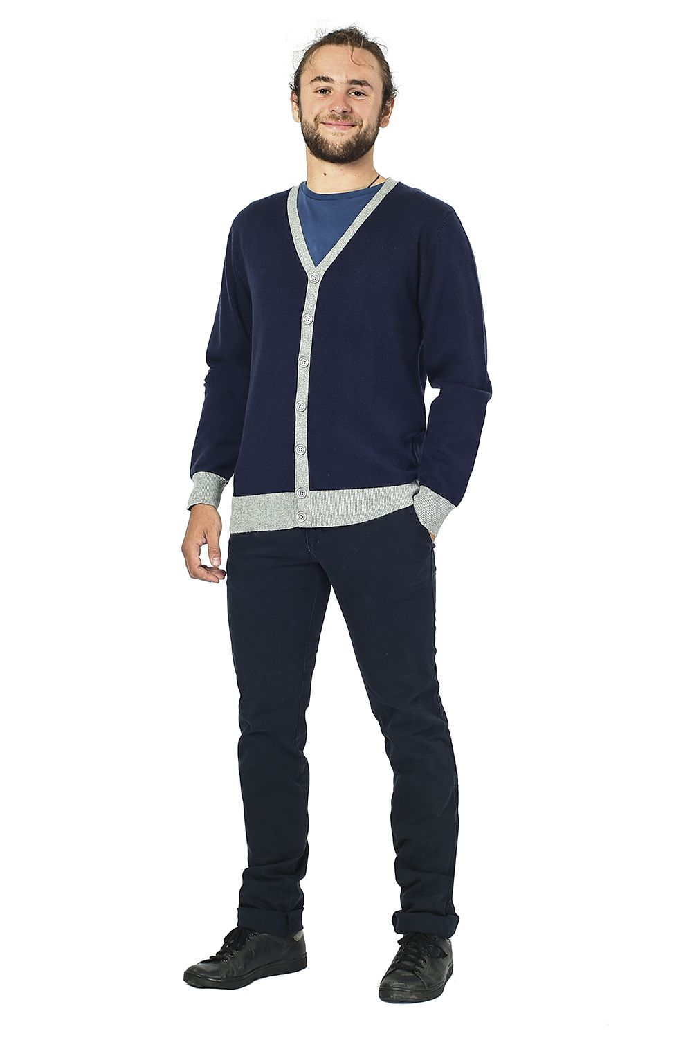 William De Faye Two-tone Buttoned Cardigan in Navy