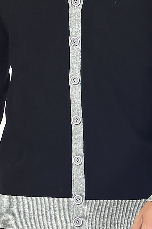 William De Faye Two-tone Buttoned Cardigan in Black