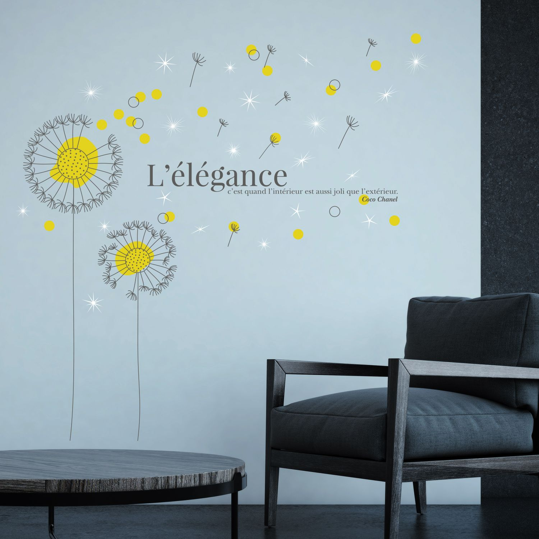 Walplus French Quote Yellow Dandelion Wall Sticker with Swarovski Crystals