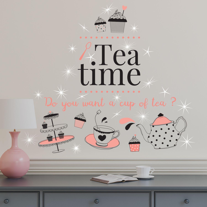 Walplus English Quote Tea Time Wall Sticker with Swarovski Crystals
