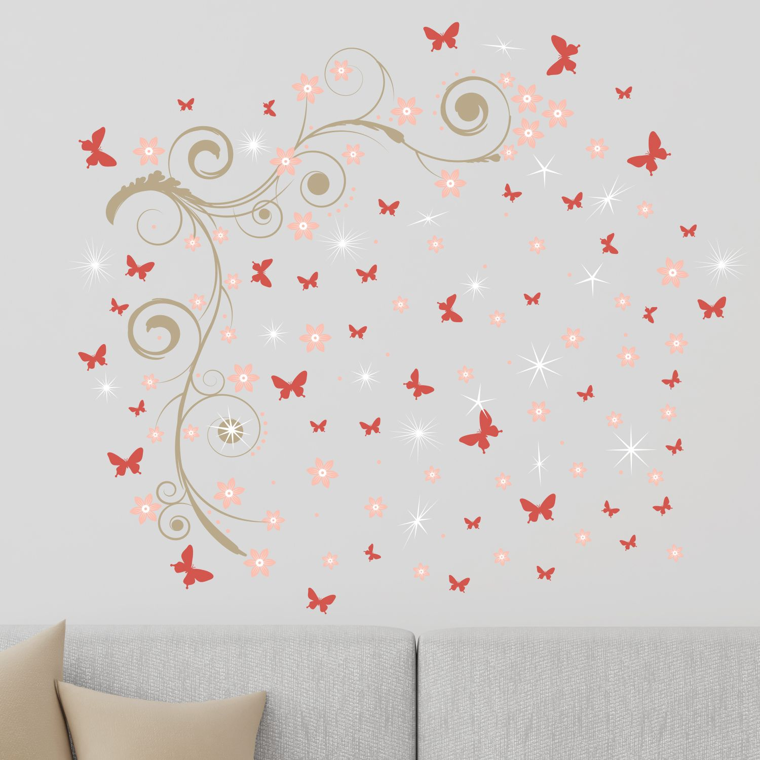 Walplus Pink Butterfly Vine Wall Sticker Art with Swarovski Crystals