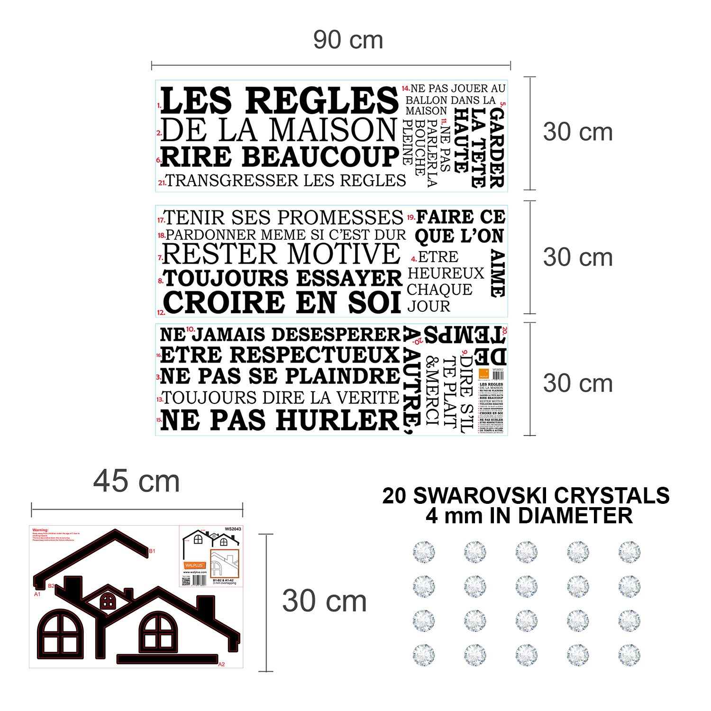 Walplus French House Rule Wall Sticker Art with Swarovski Crystals