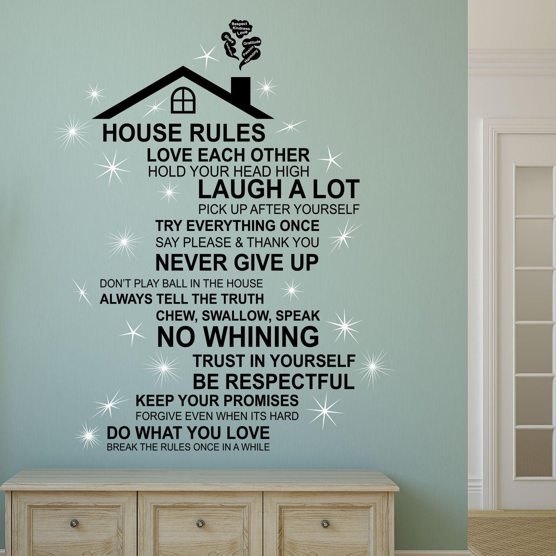Walplus English House Rule Wall Sticker Art with Swarovski Crystals