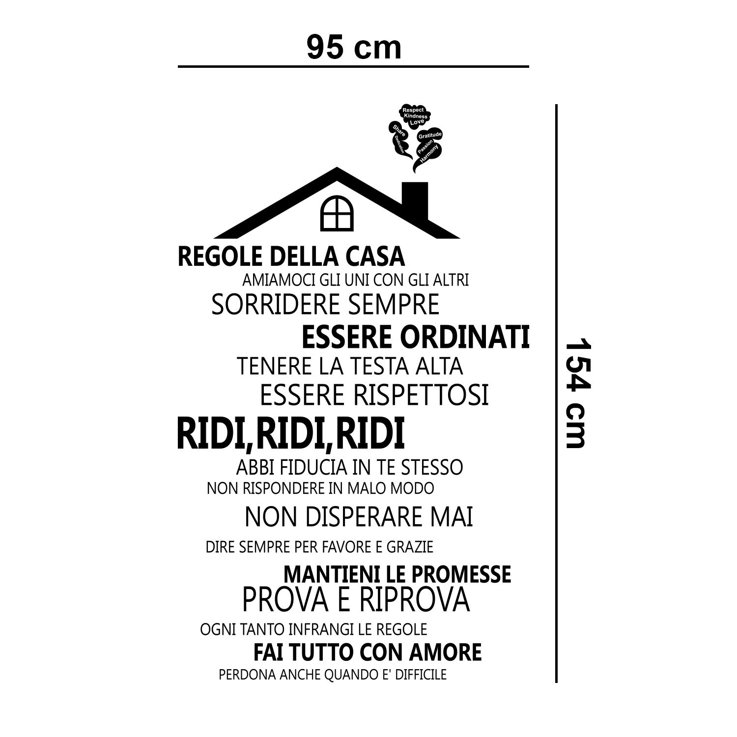 Wall Sticker Decal Rooftop House Rules with Italian and Swarovski Crystals